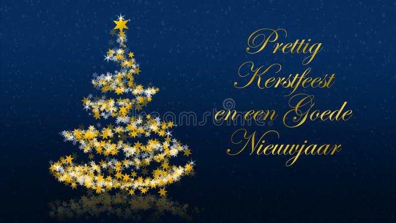 El árbol de navidad con brillar protagoniza en el fondo azul, saludos de las estaciones del holandés stock de ilustración
