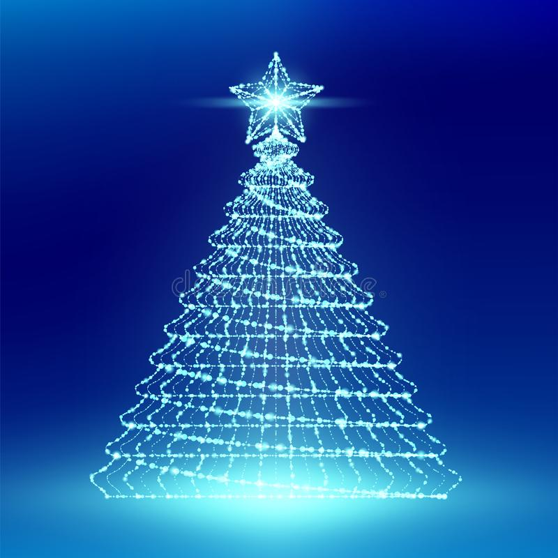 El árbol de navidad con la estructura del marco de la luz del bokeh del polígono del wireframe de la estrella y la lente señalan  stock de ilustración