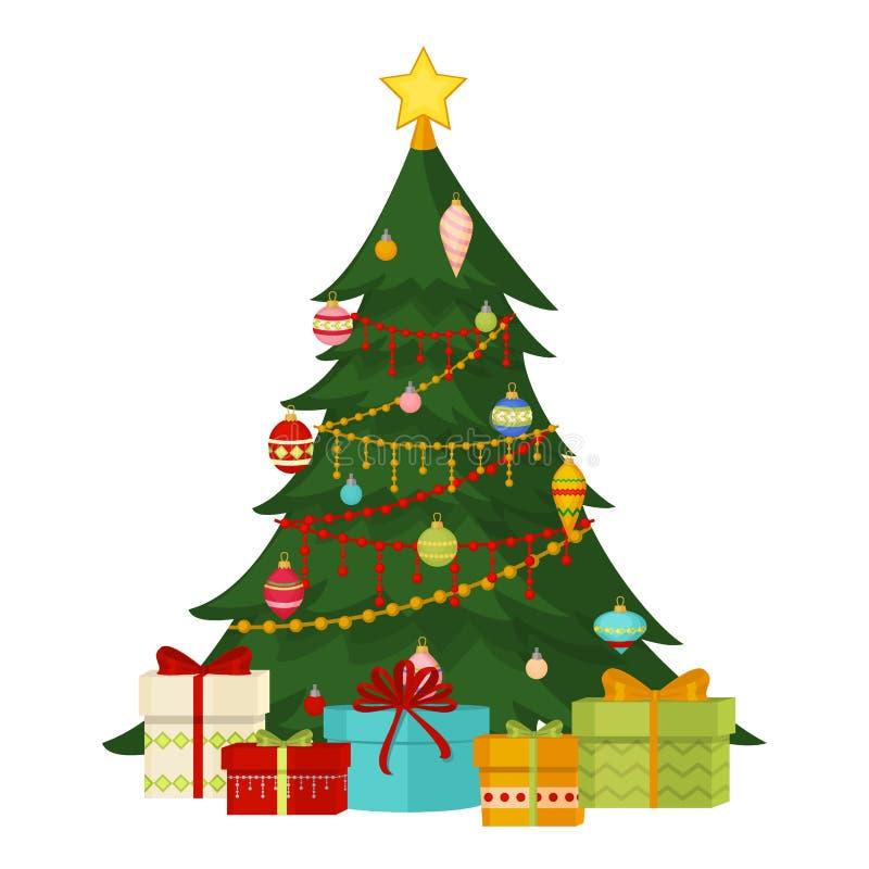 El árbol de navidad con las bolas de los regalos del abeto enciende decoración de la Feliz Año Nuevo de la celebración de Navidad ilustración del vector