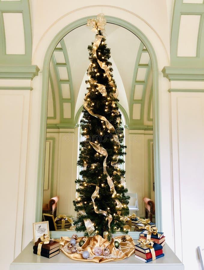 El árbol de navidad decorativo dentro del soporte imágenes de archivo libres de regalías