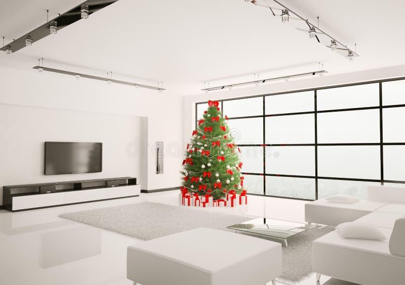 El árbol de navidad en la sala de estar 3d interior rinde ilustración del vector