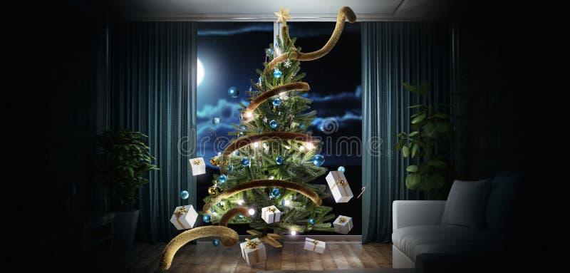 El árbol de navidad en la sala de estar con las decoraciones y la luz, 3d rinde el ejemplo stock de ilustración