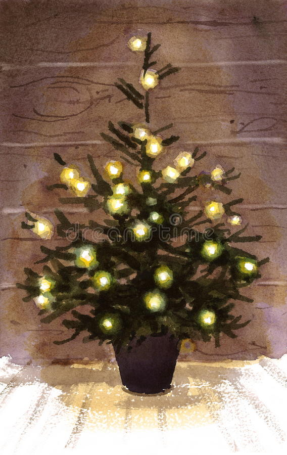 El árbol de navidad enciende a Garland Watercolor Illustration Hand Drawn stock de ilustración