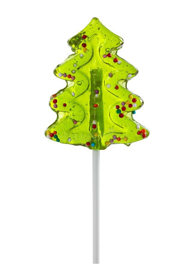 El árbol de navidad formó la piruleta aislada en blanco imagen de archivo libre de regalías
