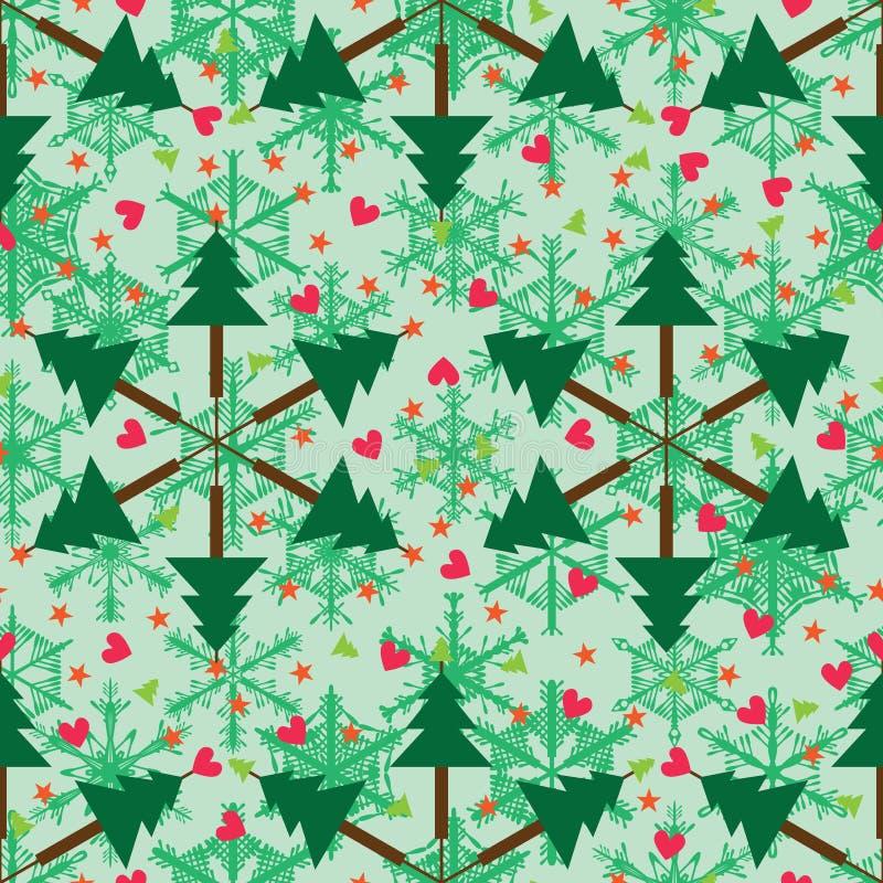 El árbol de navidad le gusta el modelo inconsútil del copo de nieve libre illustration