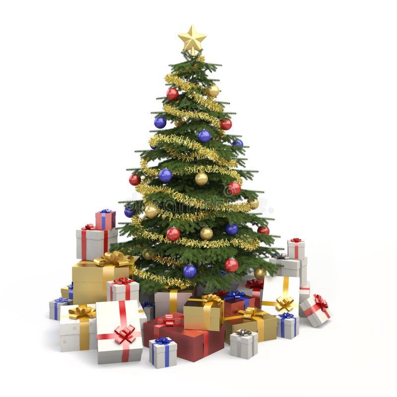 El árbol de navidad multicolor aisló stock de ilustración