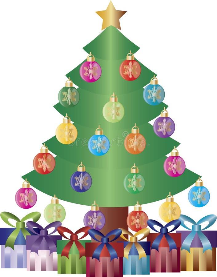 El árbol de navidad presenta la ilustración de los ornamentos stock de ilustración
