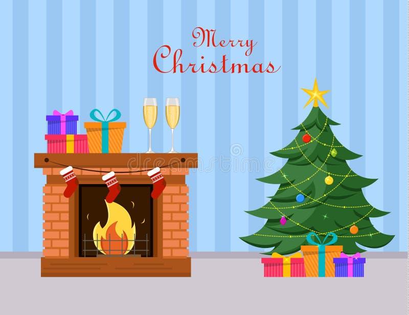 El árbol de navidad y los regalos miniatura debajo de él coloca la chimenea cercana, dos vidrios del champán y las cajas de regal ilustración del vector