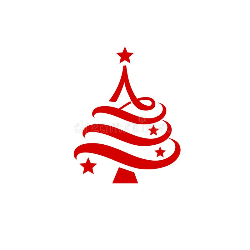 El árbol de pino abstracto llenó el esquema del logotipo de las estrellas ilustración del vector