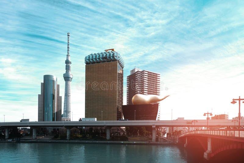 El árbol del cielo de Tokio y el edificio de Asahi son señal famosa de Tokio, Japón fotografía de archivo