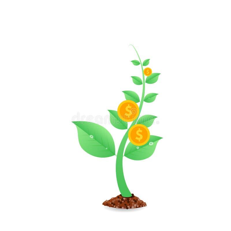 El árbol del dinero con las monedas beneficia el crecimiento, concepto de la inversión libre illustration