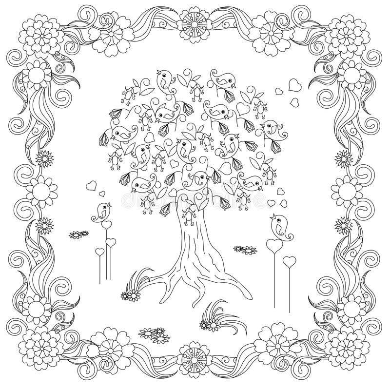 El árbol Del Estilo De Zentangle Con El Pájaro Cariñoso, Corazones ...
