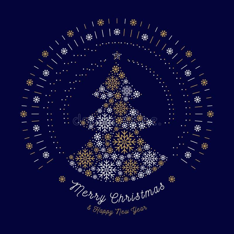 El árbol del extracto de la tarjeta de la Feliz Navidad, mono línea sol estalla, los copos de nieve stock de ilustración