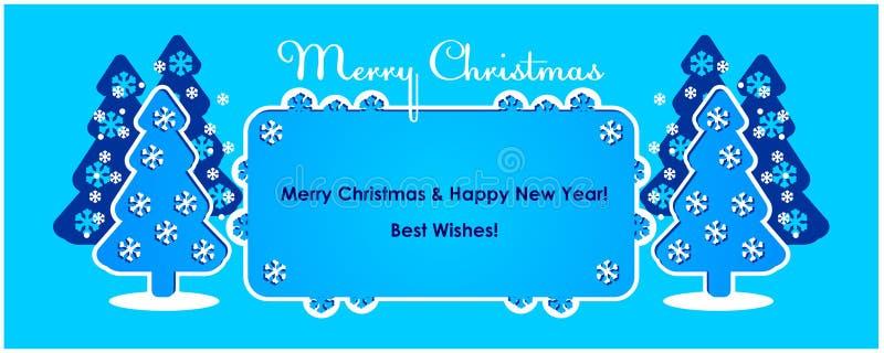 El árbol del invierno de la Feliz Navidad, árbol del Año Nuevo, postal, modelos diseña, nuevo, 2019, bandera, ilustración del vector