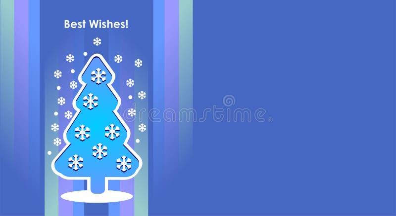 El árbol del invierno de la Feliz Navidad, árbol del Año Nuevo, postal, modelos diseña, nuevo, 2019, bandera, libre illustration