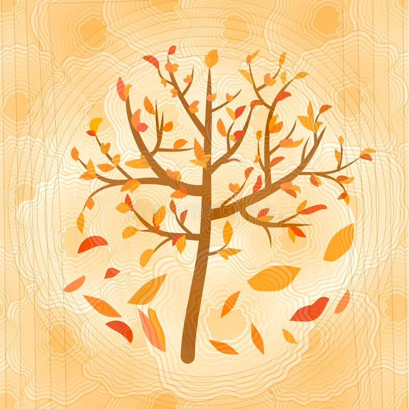 El árbol del otoño con amarillo y rojo descendentes se va en fondo ocre borroso del círculo stock de ilustración