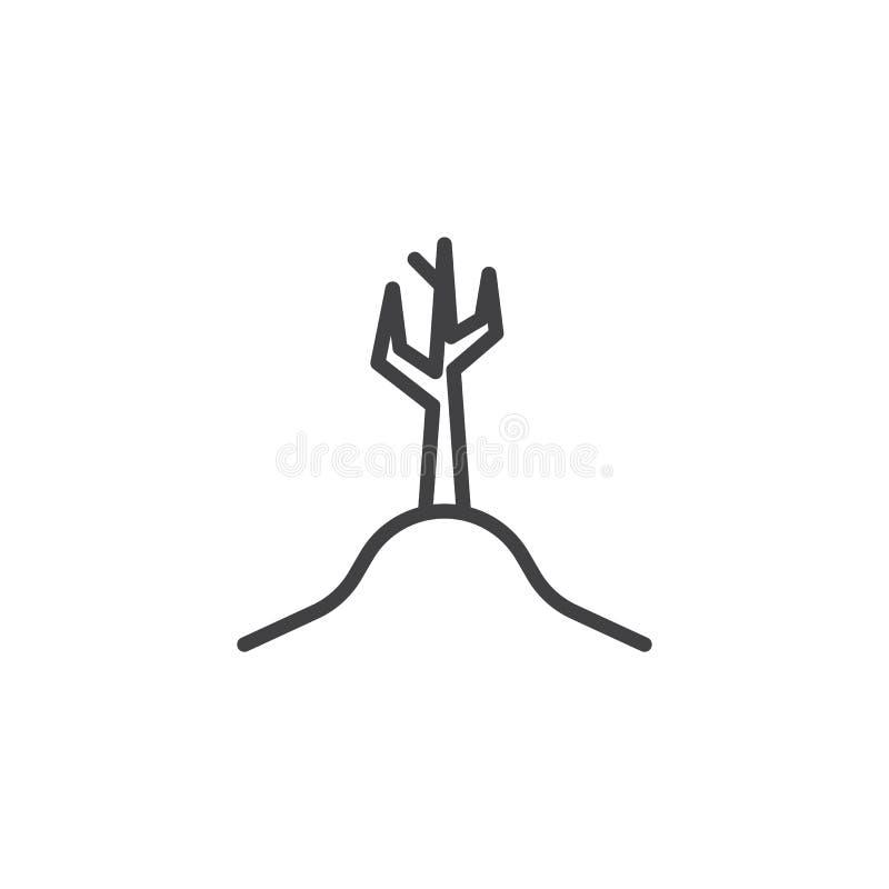 El ?rbol muerto sin las hojas alinea el icono ilustración del vector
