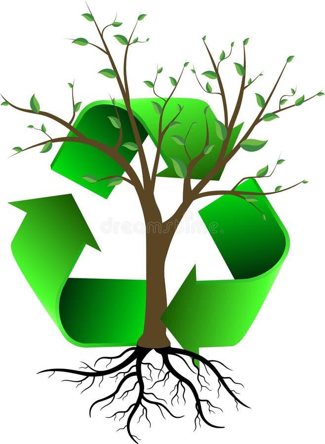 El árbol y recicla ilustración del vector