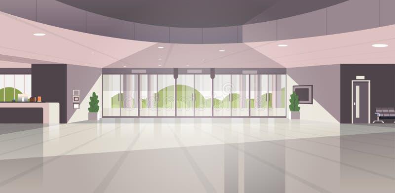 El área de recepción moderna vacía ningunas personas cabildea el interior contemporáneo del pasillo del hotel completamente horiz ilustración del vector