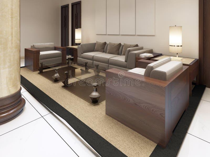 El área del salón en las premisas del hotel del balneario ilustración del vector
