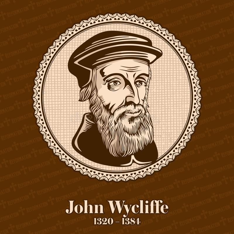 """El †1320 de John Wycliffe """"1384 era filósofo escolástico inglés, teólogo, traductor bíblico, reformador, sacerdote inglés ilustración del vector"""