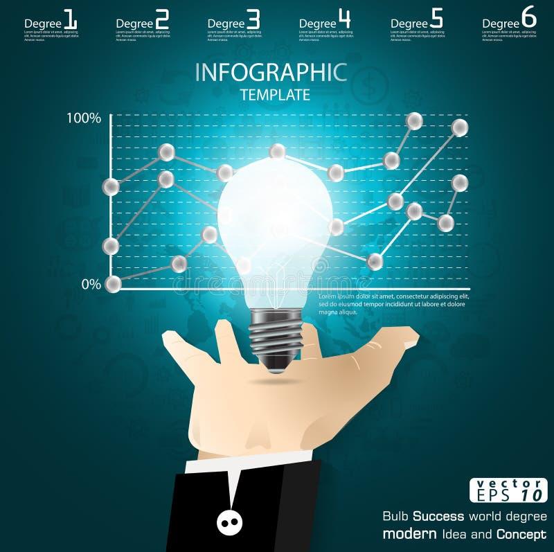 El éxito del bulbo de la captura de la mano del negocio que se inspira idea moderna y el concepto Vector la plantilla de Infograp ilustración del vector