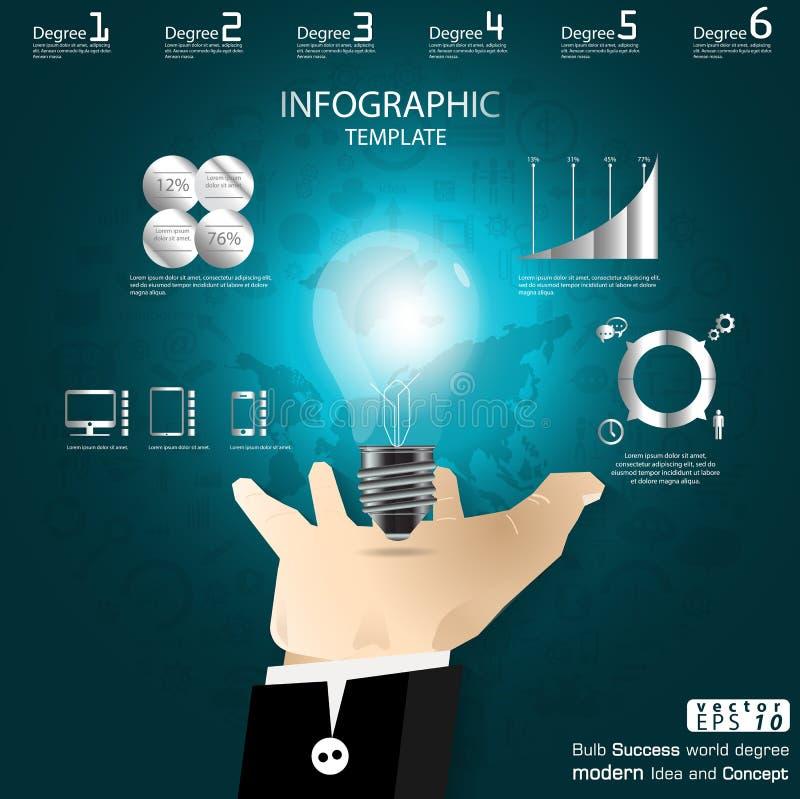 El éxito del bulbo de la captura de la mano del negocio que se inspira idea moderna y el concepto Vector la plantilla de Infograp stock de ilustración