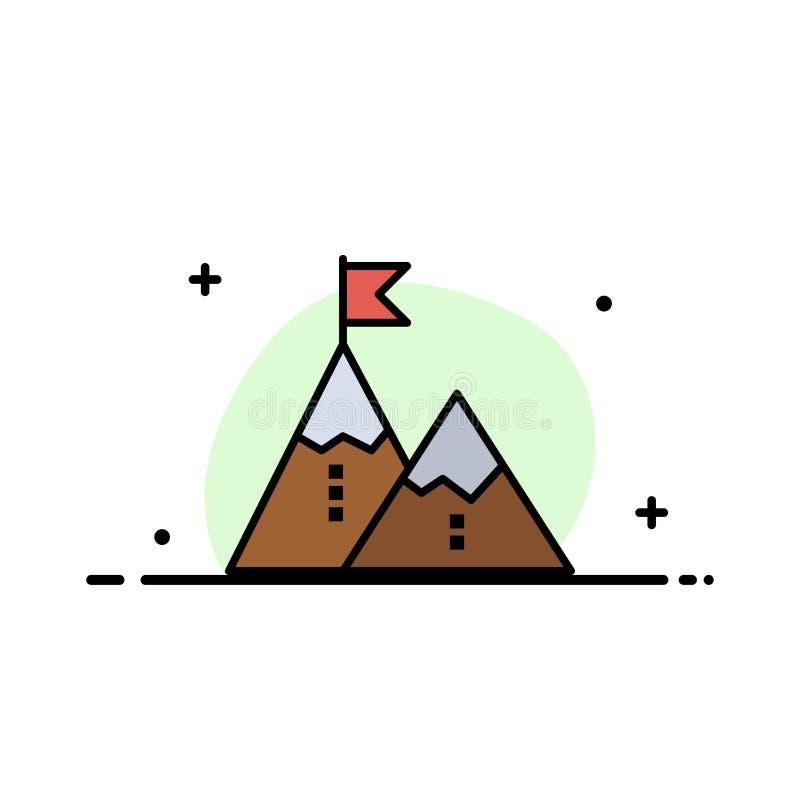 El éxito, logro, bandera, meta, misión, montaña, pico, línea plana del negocio llenó la plantilla de la bandera del vector del ic stock de ilustración