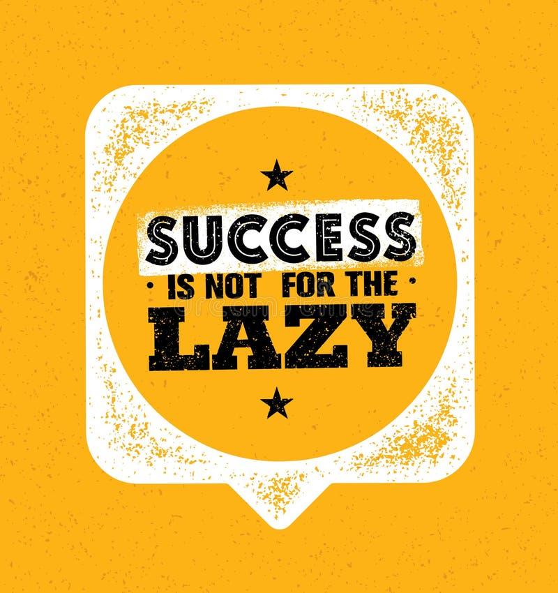 El éxito no está para el perezoso Plantilla creativa inspiradora de la cita de la motivación Concepto de diseño de la bandera de  stock de ilustración