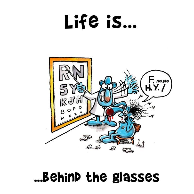 El óptico está enojado con su paciente libre illustration