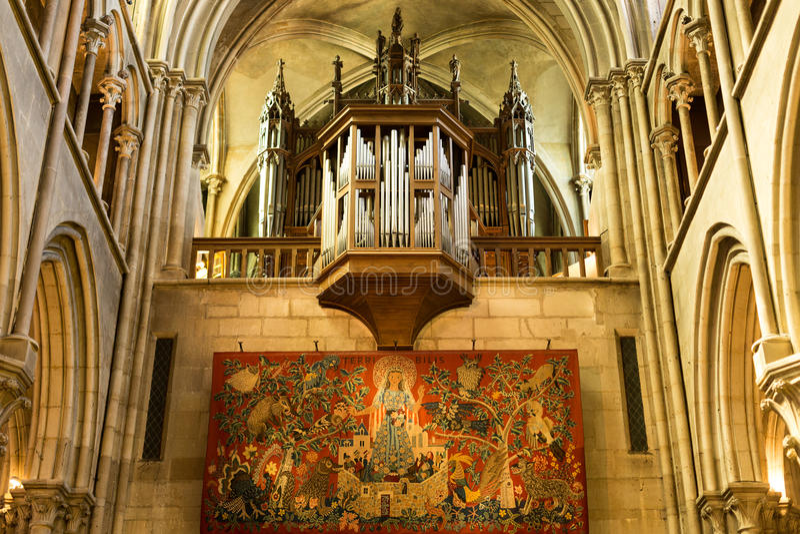 El órgano alinea, Notre Dame, Dijon, Francia fotografía de archivo libre de regalías