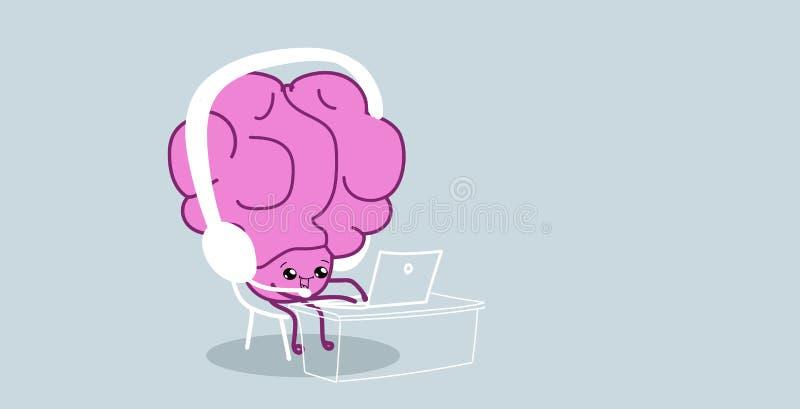El órgano del cerebro humano usando música que escucha del ordenador portátil con los auriculares relaja la historieta rosada del ilustración del vector