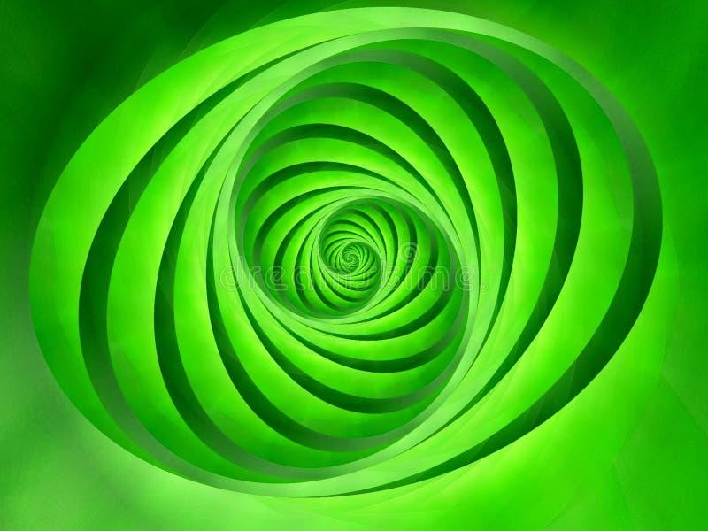 El óvalo remolina verde de las rayas   stock de ilustración
