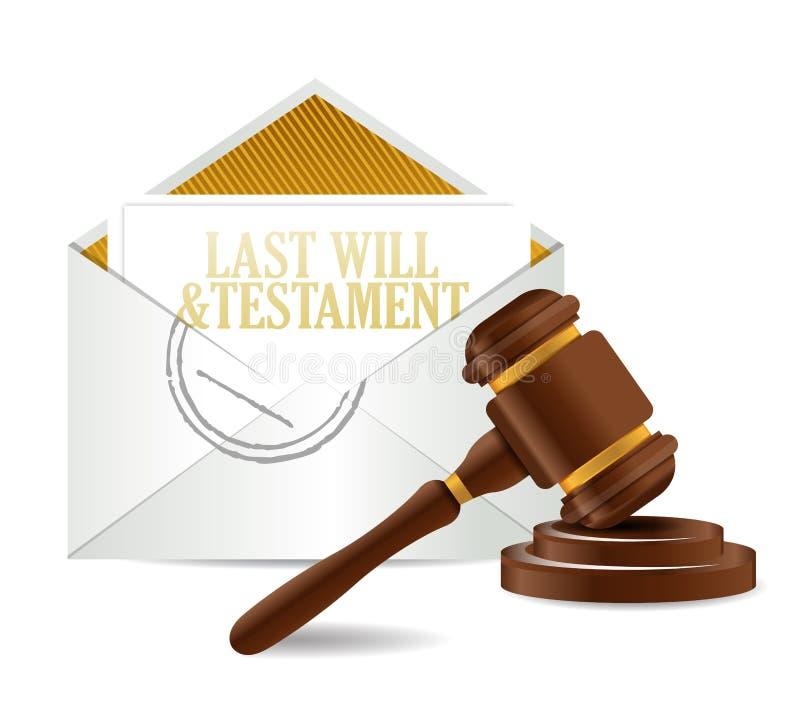 El último y los papeles y el mazo del documento del testamento ilustración del vector