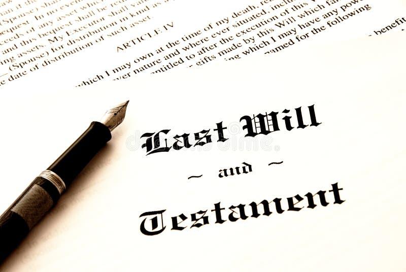El último y testamento imagen de archivo libre de regalías