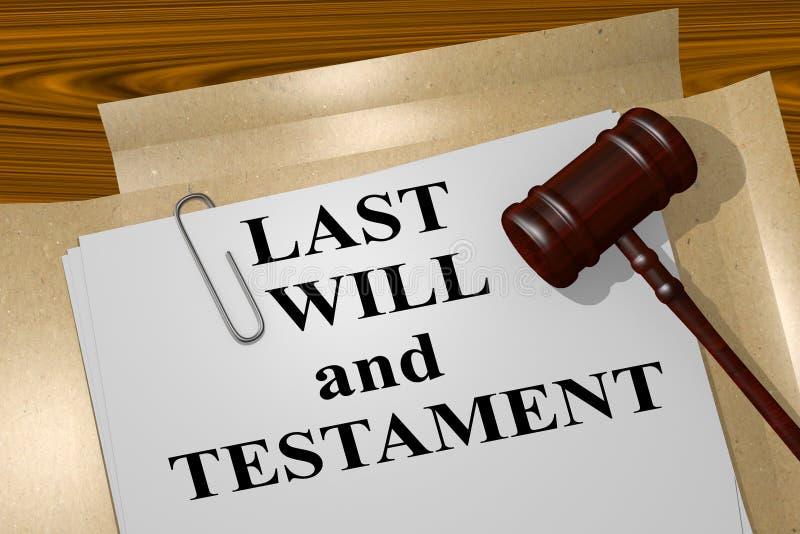 El último y testamento - concepto legal stock de ilustración