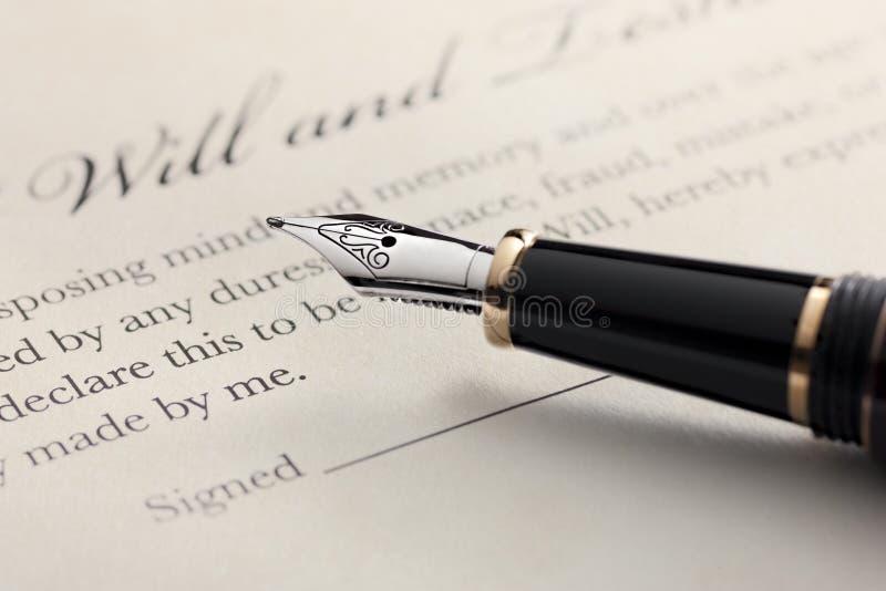 El último y testamento, pluma imagen de archivo libre de regalías