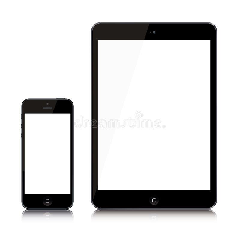 El últimos iPad e iPhone ilustración del vector