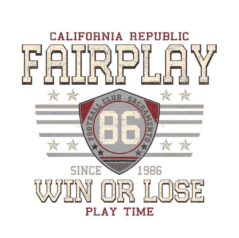 El 'juego justo, gana o pierde, tipografía del tiempo del juego ', impresión de la camiseta ilustración del vector