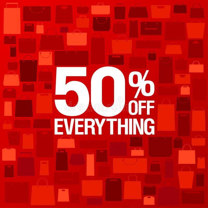 el 50 por ciento del fondo de la venta. ilustración del vector