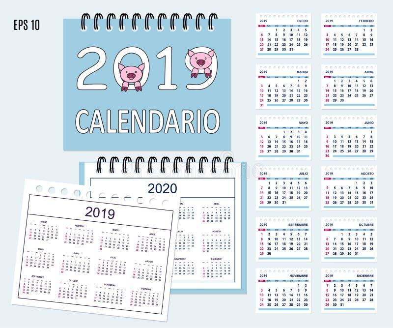 El año civil español espiral de escritorio 2019, 2020 con el cerdo abozala ilustración del vector