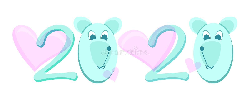 2020 el año de ratón Mascota del Año Nuevo stock de ilustración