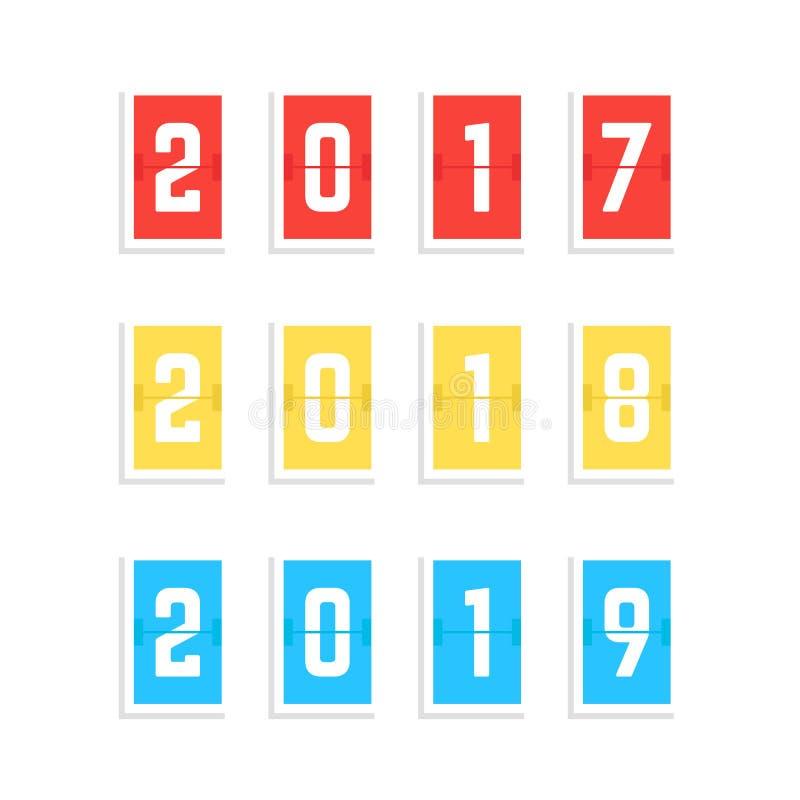 El año del marcador numera a partir de 2017 a 2019 ilustración del vector