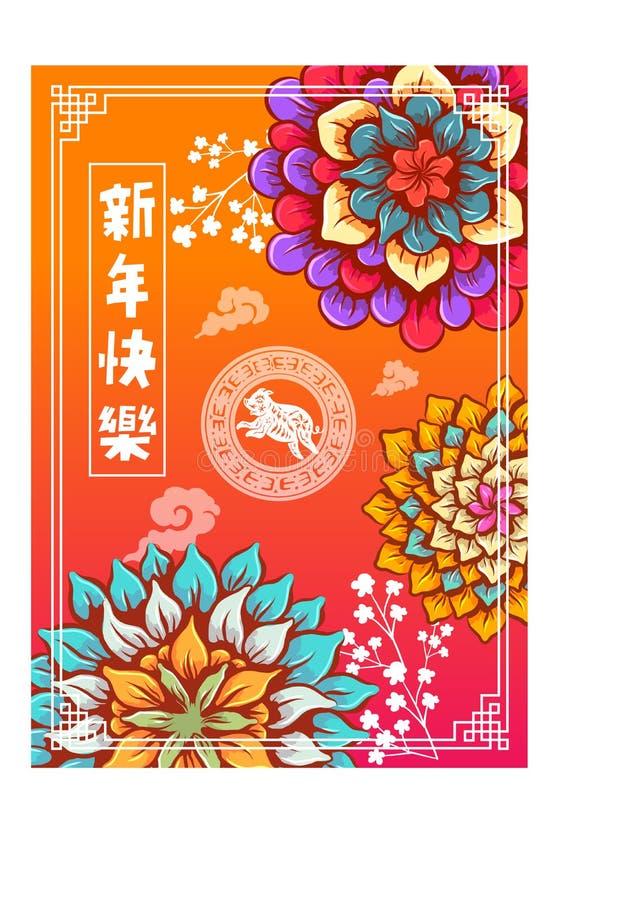 El Año Nuevo chino feliz 2019, año del cerdo, el kuai nian le de xin de los caracteres chinos significa Feliz Año Nuevo imprevisi stock de ilustración