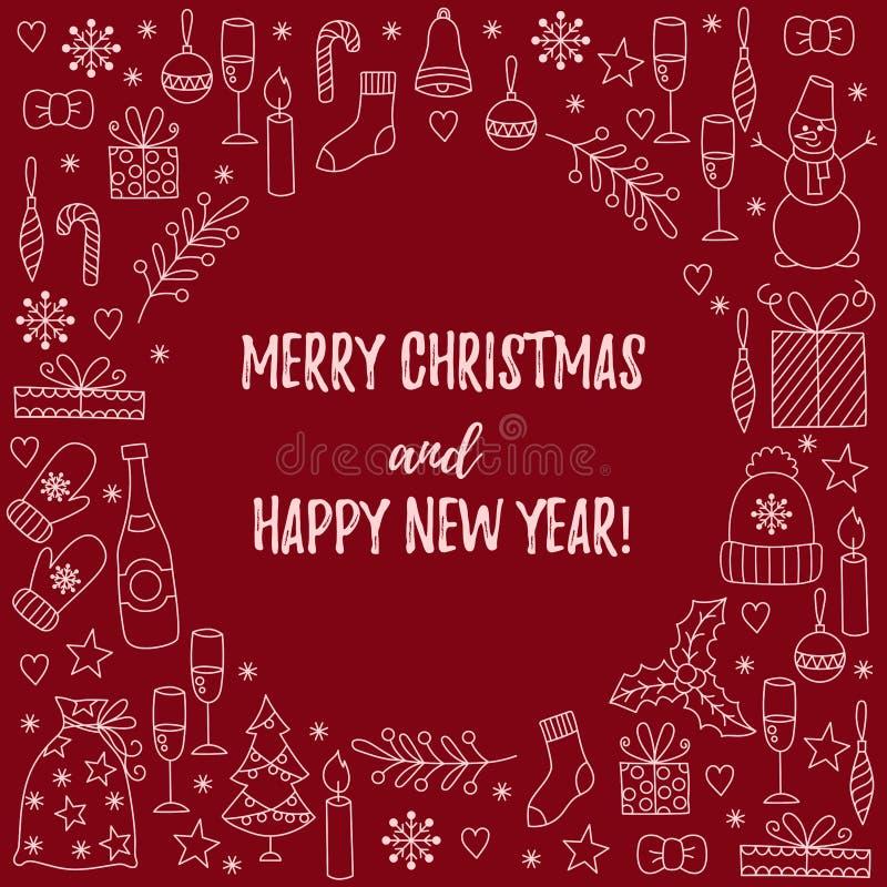 El Año Nuevo de la Navidad garabatea la decoración de la tarjeta de felicitación libre illustration