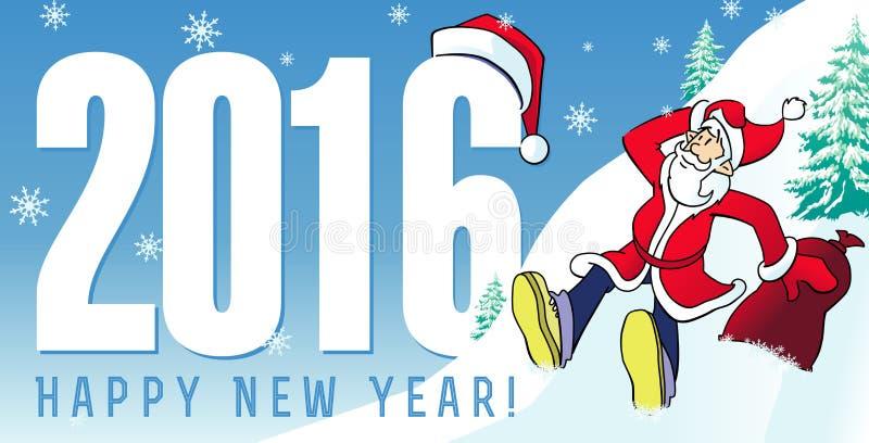 El Año Nuevo de Papá Noel carda 2016 ilustración del vector