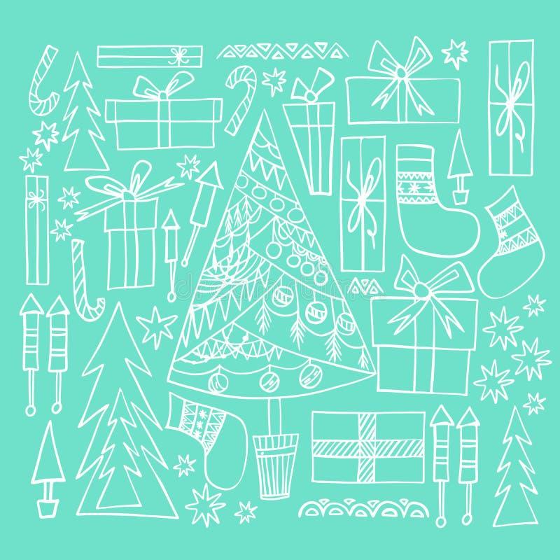 El Año Nuevo del día de fiesta precioso gráfico artístico hermoso abstracto garabatea el árbol de navidad del modelo, presentes,  libre illustration