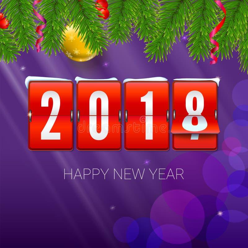 El Año Nuevo está viniendo 2018 Fondo con el reloj, la serpentina y la bola mecánicos de la Navidad Ejemplo de la Feliz Año Nuevo ilustración del vector