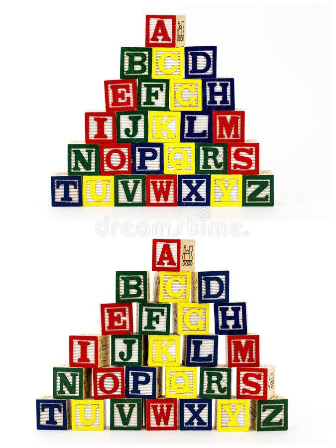 El ABC apilado del alfabeto bloquea al niño stock de ilustración