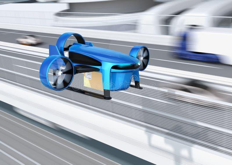 El abejón VTOL azul metálico con entrega empaqueta el vuelo al lado del puente de la carretera ilustración del vector